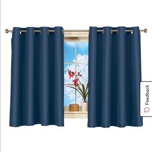 2 dark navy blue blackout window panels curtains